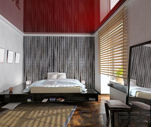 Установка натяжного потолка в спальне в Хвойной